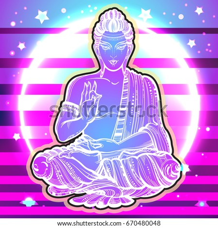 vector sitting buddha over the