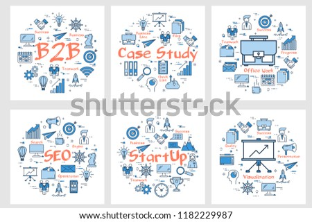 Vector six business square banners - bussiness to bussiness concept, case study, new startup and seo process. Arrangement with blue linear icons for success office work and advertising