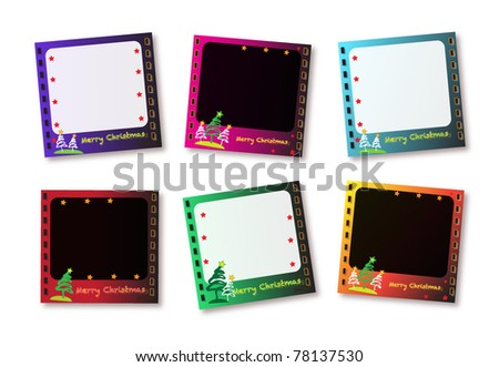 vector six frame for photos. christmas card.