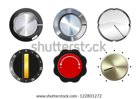 vector six knobs set on white background, eps10 file, gradient mesh and transparency used, raster version available