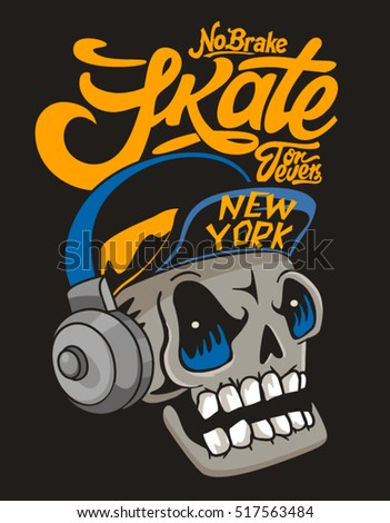 vector skateboard skull design