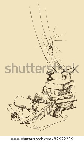 Vector sketch. A still-life from an inkwell with a feather and a paper against old books and a burning candle