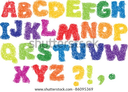 Vector Sketch Alphabet - different colors letters are made like a scribble - stock vector
