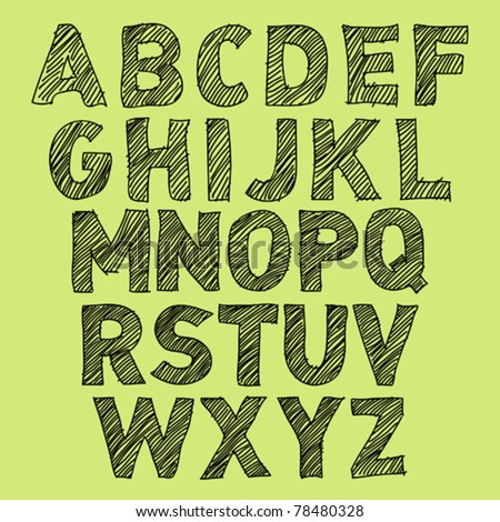 Vector Sketch Alphabet on green background
