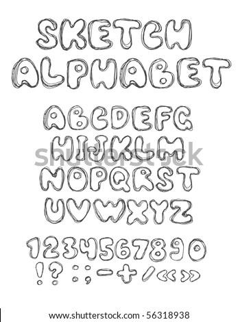 vector sketch alphabet (vector eps10)