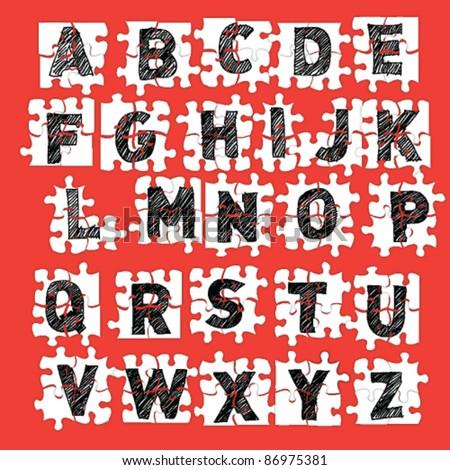 Vector sketch alphabet vector puzzle