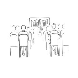 Vector sketch black contour isolated illustration of business people. Women and men at conference, meeting and negotiations. A speaker at lecture or session. The audience listens to a presentation.