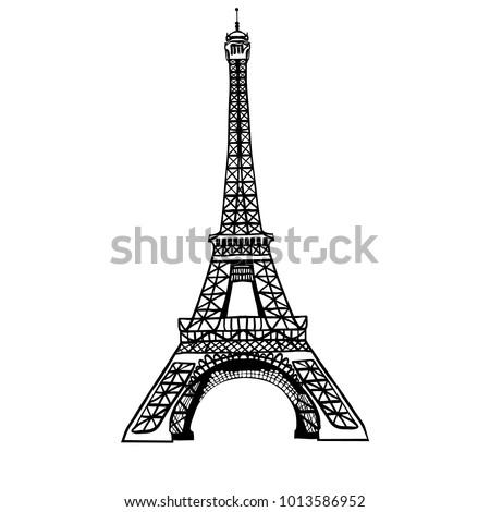 vector sketch black eifel tower