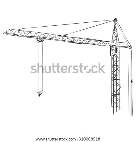 Vector Sketch Building Tower Crane
