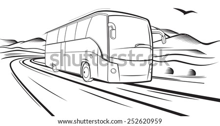 Vector sketch, Bus quickly rides on the road in the country