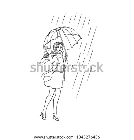 Stock Photo Vector sketch cartoon young woman, monochrome cute girl in dress coat walking holding umbrella under rain smiling waving hand Female character at rainy autumn weather coloring book design illustration