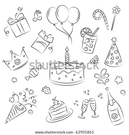 "Vector Sketch Clipart Set "" Birthday Party"""