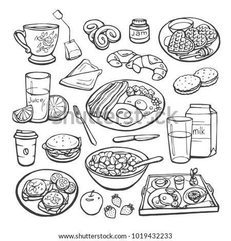 Vector sketch collection of breakfast. Plates with various food and drinks isolated on a white background