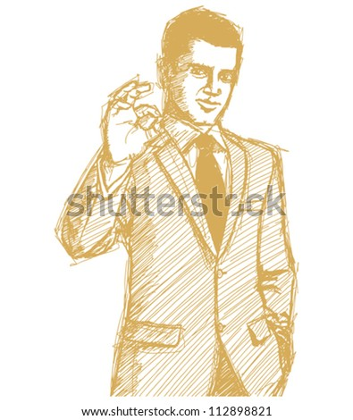 Vector Sketch, comics style happy businessman in suit shows OK, looking on camera