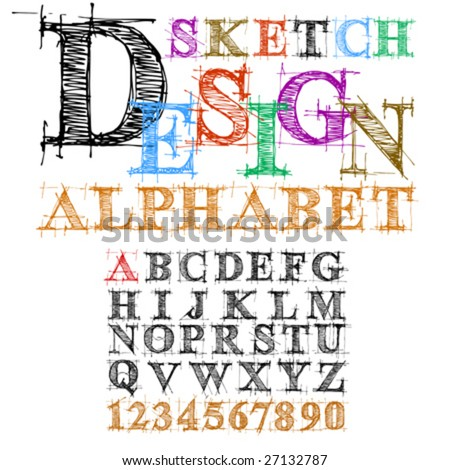 vector sketch design alphabet