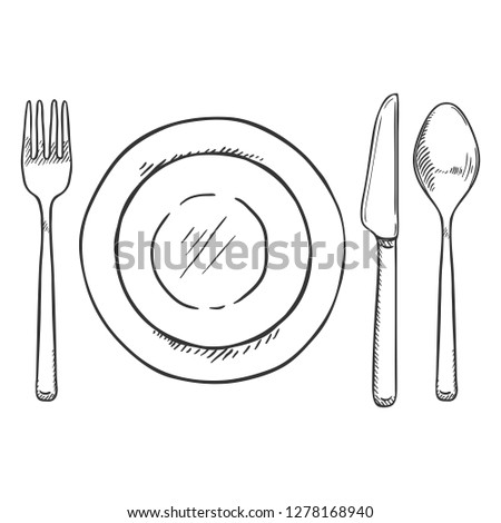Vector Sketch Dining Set - Fork, Knife, Spoon and Plates