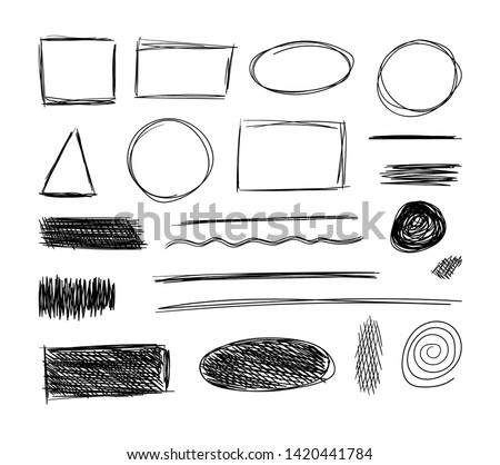 Vector sketch elements, hand drawn black doodles isolated on white background, sketchbook drawings.