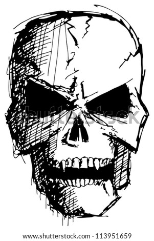 Vector sketch evil monster skull for halloween