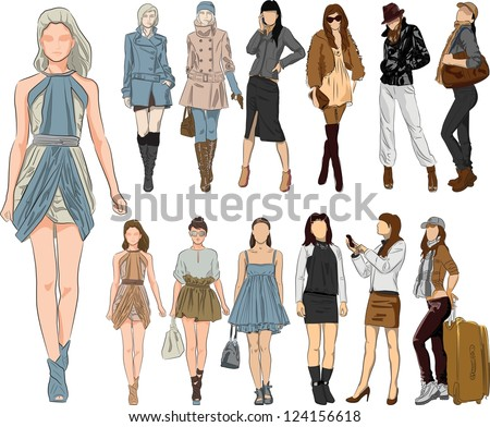 vector sketch fashion women