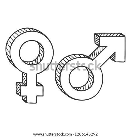 Vector Sketch Gender Symbols. Male and Female. Mars and Venus Signs