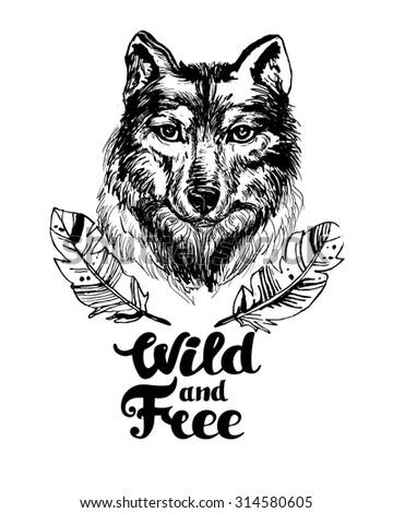 vector sketch handmade wolf