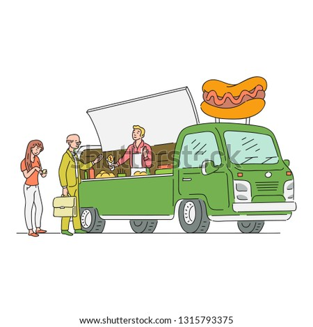 Vector sketch hotdog van in vintage style with customer buying food. 90s food truck, mobile fastfood shop vehicle. Retro snacks delivery car. Isolated illustration