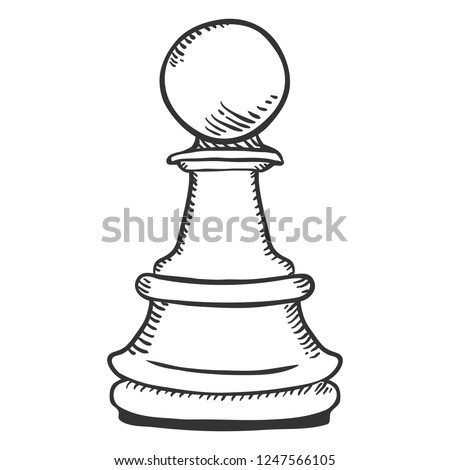 Vector Sketch Illustration - Chess Pawn Figure