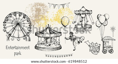 Vector sketch illustration. Entertainment park set : carousel, ferris whee, swing, popcorn machine, ice cream, flags,  balloons, firework