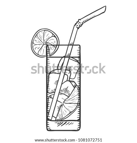 Vector Sketch Illustration - Glass of Lemonade with Lemon Slice, Ice and Drinking Straw