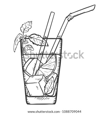 Vector Sketch Illustration - Glass of Mojito with Straws, Ice, Lime and Mint