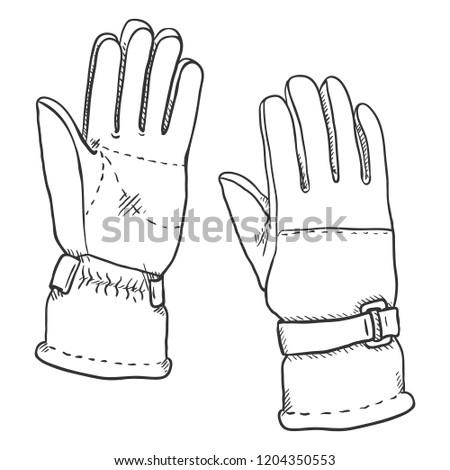 Vector Sketch Illustration - Gloves for Extremal Winter Sports