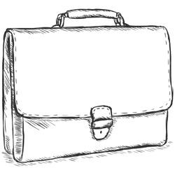 vector sketch illustration - leather briefcase