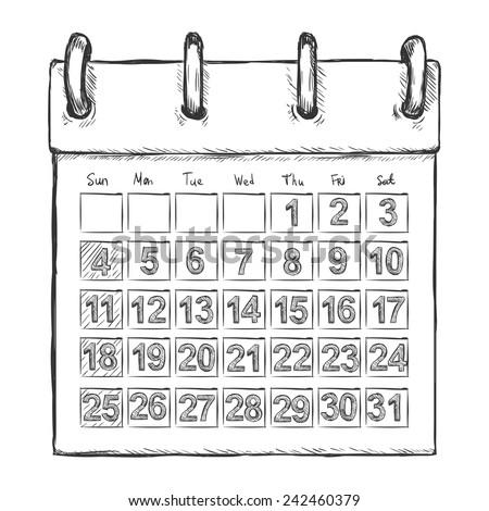 Vector Sketch Loose-leaf Calendar