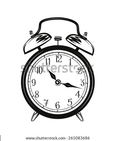 Vector sketch of a alarm clock on white background.