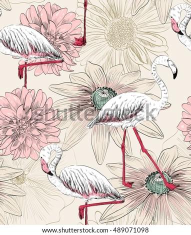 vector sketch of a flamingo