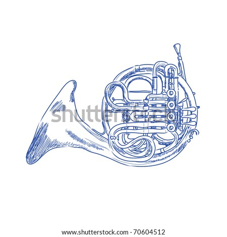 Vector sketch of a french horn in blue ink