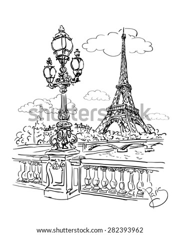 vector sketch of a view of the