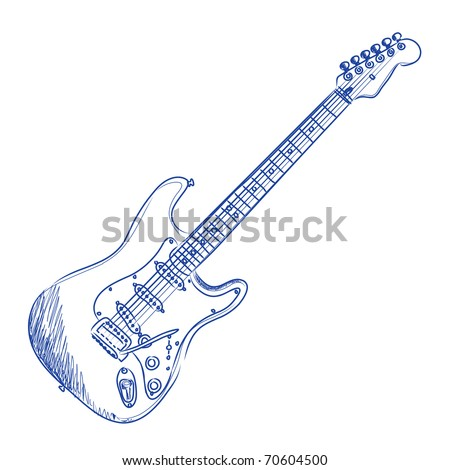 Vector sketch of an electric guitar in blue ink
