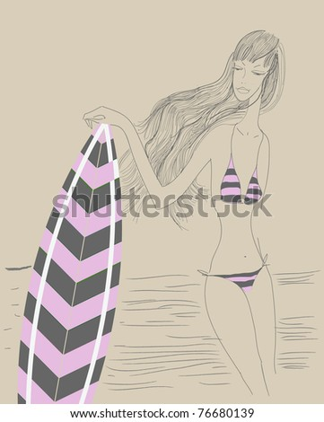 Vector sketch of beautiful girl and surfboard