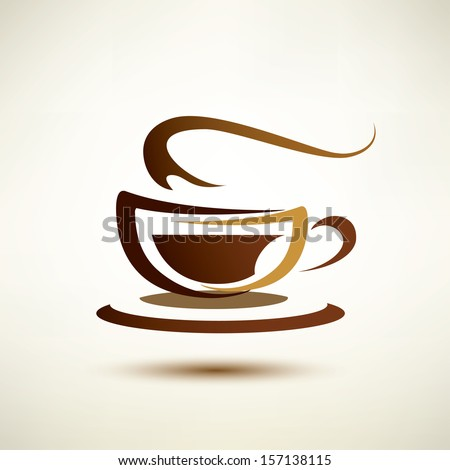 vector sketch of coffee cup, icon