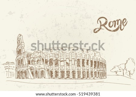 vector sketch of coliseum. rome....