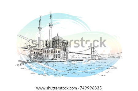 vector sketch of famous turkish