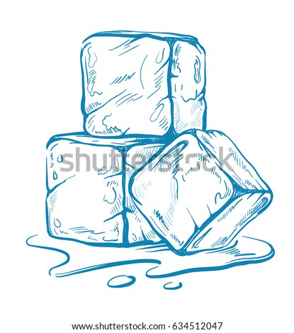 vector sketch of ice cubes. Doodle style on white