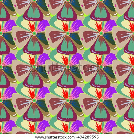 Vector sketch of many abstract colored flowers. Hand drawn seamless illustration. #494289595