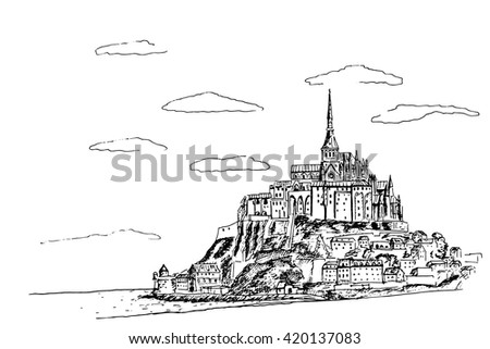vector sketch of mont saint