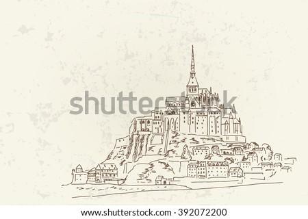 vector sketch of mont saint
