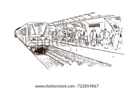 vector sketch of paris metro