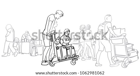 Vector sketch of passenger and traveler walking in the main terminal for boarding time in International Airport for travel. father with her son walking forward with luggage