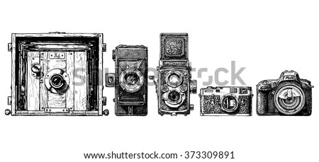 vector sketch of photo cameras