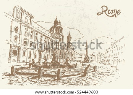 vector sketch of piazza navona